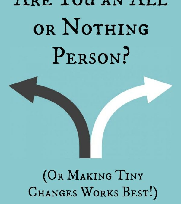 Are You an All or Nothing Person (Or Making Tiny Changes Works Best!)