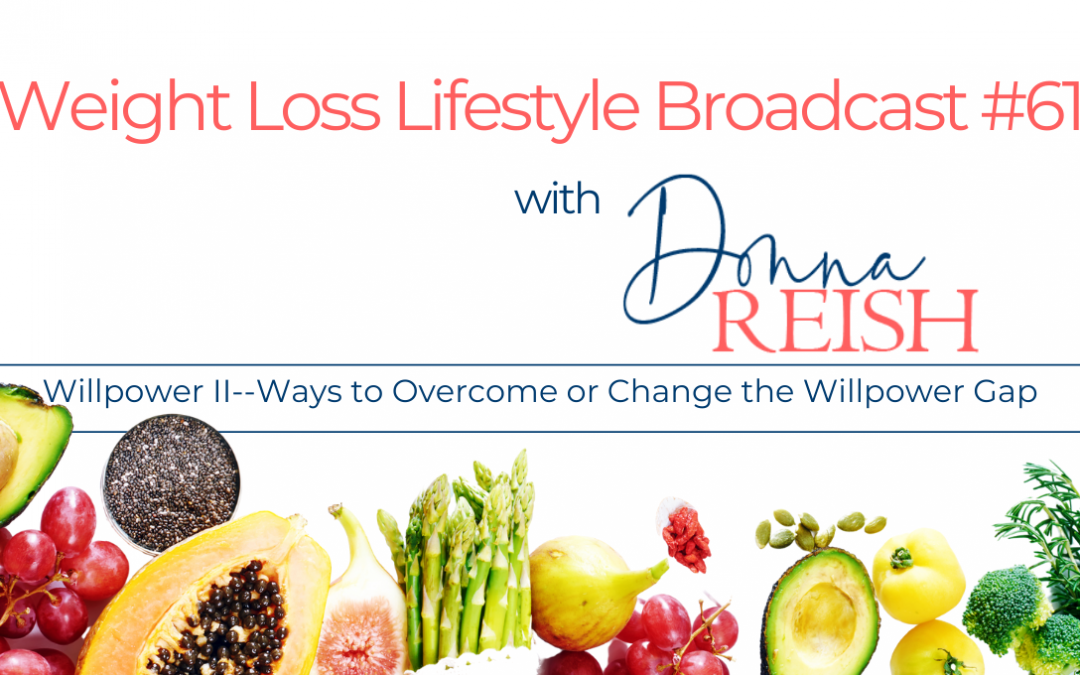 Weight Loss Lifestyle #61: Willpower II–Ways to Overcome or Change the Willpower Gap